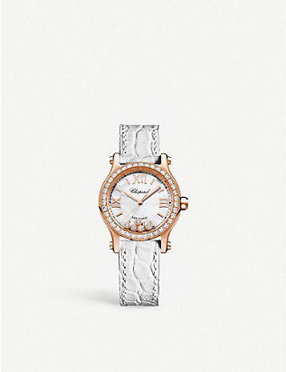CHOPARD: 274893-5010 Happy Sport 18ct rose-gold, diamond and alligator-embossed leather watch