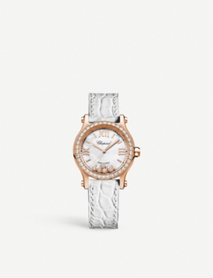 CHOPARD 274893-5010 Happy Sport 18ct rose-gold, diamond and alligator-leather watch