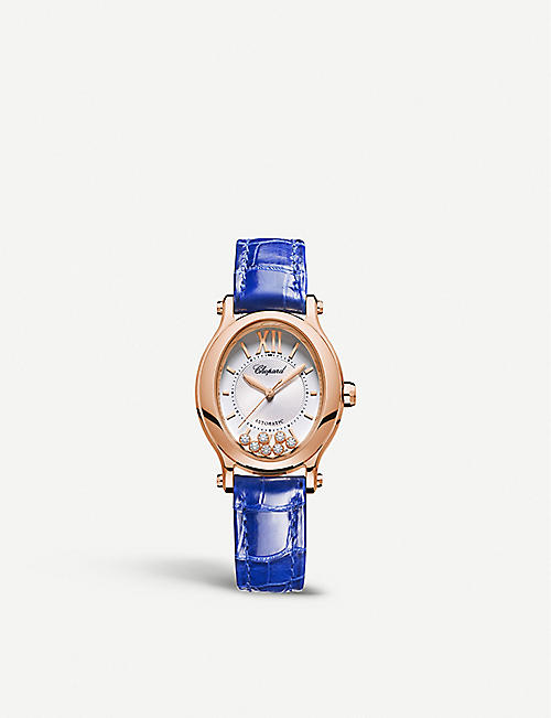 CHOPARD: 275362-5001 Happy Sport Oval 18ct rose-gold, diamond and alligator-embossed leather watch
