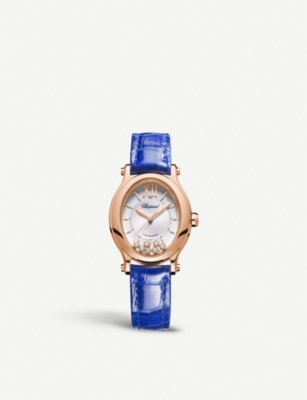 CHOPARD 275362-5001 Happy Sport Oval 18ct rose-gold, diamond and alligator-leather watch