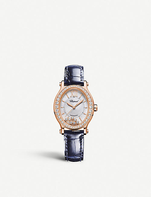 CHOPARD: 275362-5002 Happy Sport Oval 18ct rose-gold, diamond and alligator-embossed leather watch