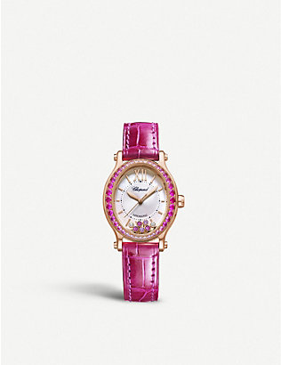 CHOPARD: 275362-5003 Happy Sport Oval 18ct rose-gold, diamond and alligator-embossed leather watch