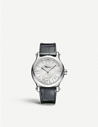 CHOPARD: Happy Sport Medium stainless steel, diamond and croc-embossed leather watch