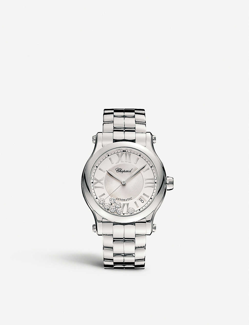 CHOPARD: 278559-3002 happy sport stainless steel and diamond watch