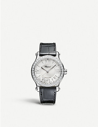 CHOPARD: Happy Sport Medium automatic stainless steel, diamond and alligator-embossed leather watch