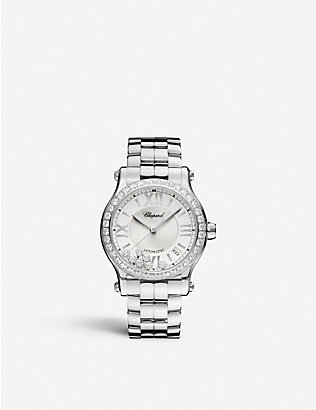 CHOPARD: Happy Sport Medium stainless steel and diamond watch