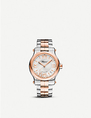 CHOPARD: Happy Sport Medium automatic 18ct rose-gold, stainless steel and diamond watch
