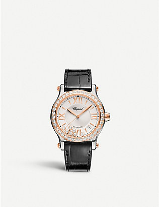 CHOPARD: 278559-6003 Happy Sport 18ct rose-gold and diamond watch