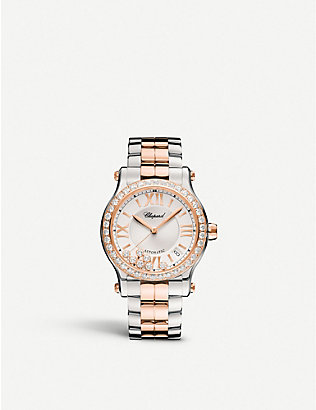 CHOPARD: 278559-6004 Happy Sport 18ct rose-gold and stainless steel watch