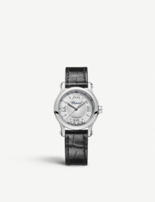 CHOPARD 278573-3001 Happy Sport stainless steel, diamond and alligator-leather watch
