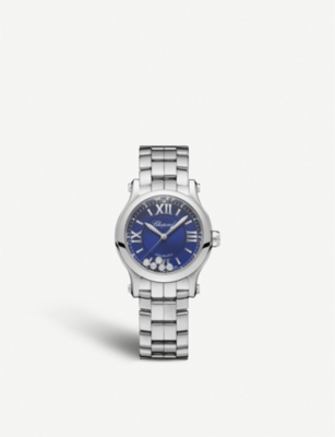CHOPARD 278573-3007 Happy Sport stainless steel and diamond watch