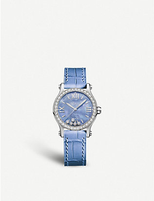 CHOPARD: Happy Sport diamond, alligator-embossed leather and stainless steel watch