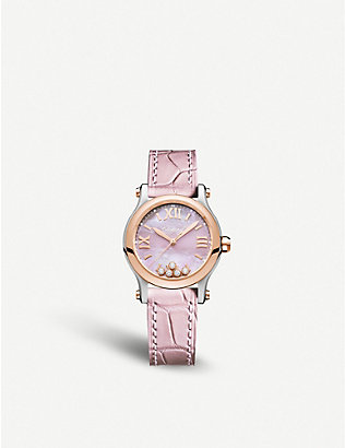 CHOPARD: Happy Sport rose gold, stainless steel, diamond and alligator-embossed leather watch