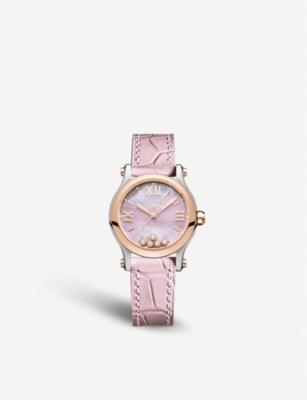 CHOPARD Happy Sport rose gold, stainless steel, diamond and leather watch