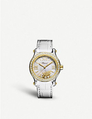 CHOPARD: Happy Sport 18ct yellow-gold, mother-of-pearl and diamond watch