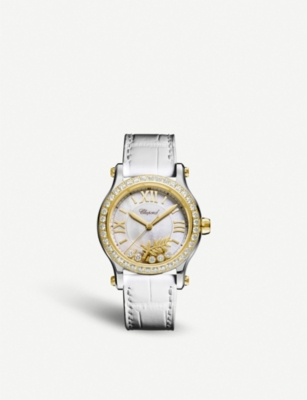 CHOPARD Happy Sport 18ct yellow-gold, mother-of-pearl and diamond watch