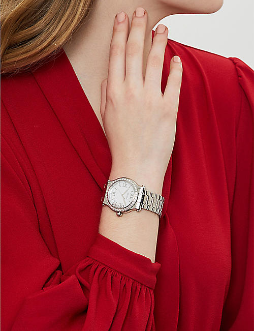 CHOPARD Happy Sport stainless steel and diamond watch