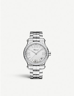 CHOPARD: Happy Sport stainless steel and diamond watch