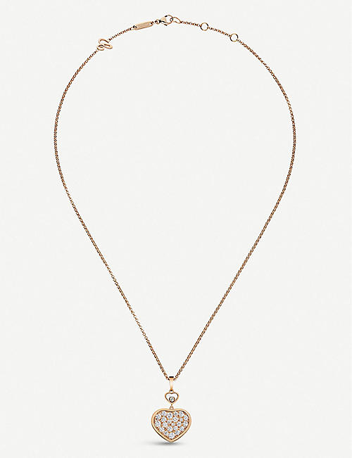 CHOPARD Happy Hearts 18ct rose-gold and diamond pendant