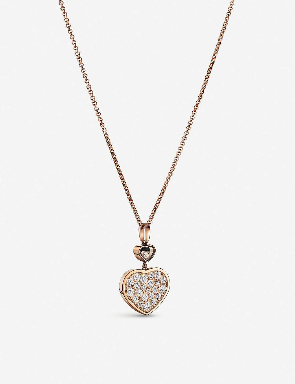 aec67fdd8346d7 CHOPARD - Happy Hearts 18ct rose-gold and diamond pendant ...