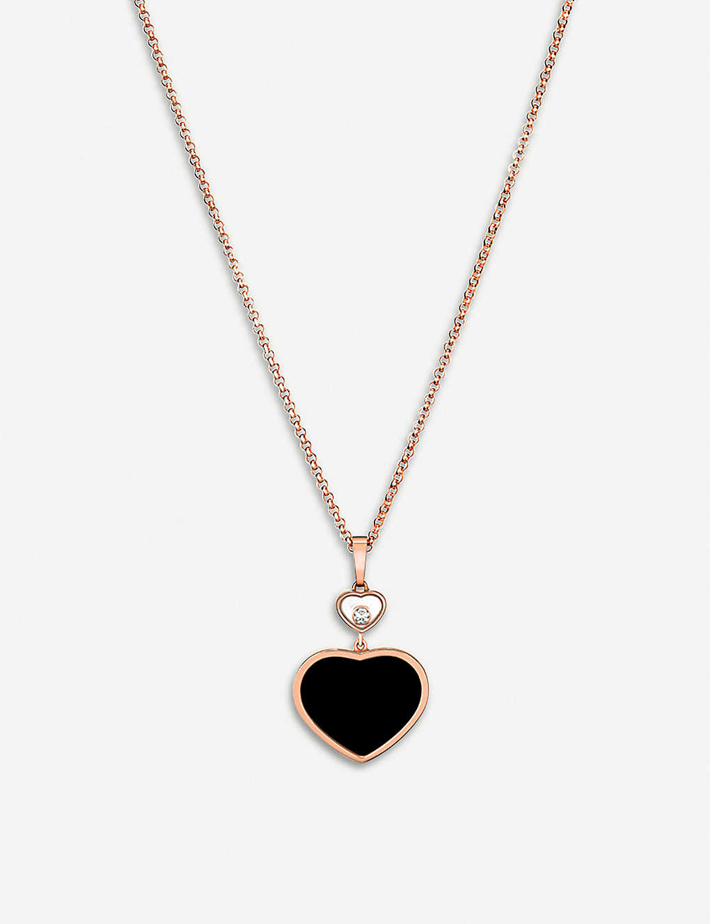 34305731dd680d CHOPARD - Happy Hearts 18ct rose-gold, onyx and diamond pendant ...