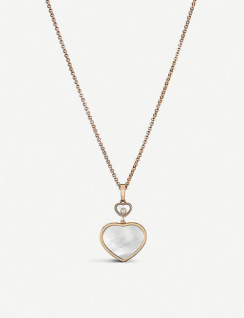 CHOPARD Happy Hearts 18ct rose-gold, diamond and mother-of-pearl necklace