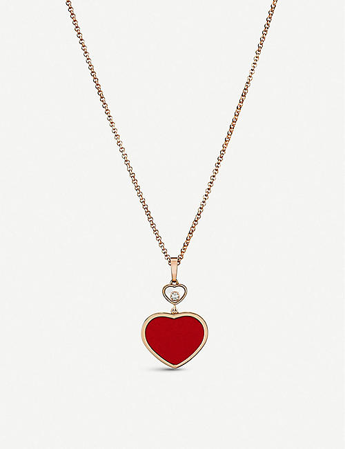 CHOPARD: Happy Hearts 18ct rose-gold and diamond pendant