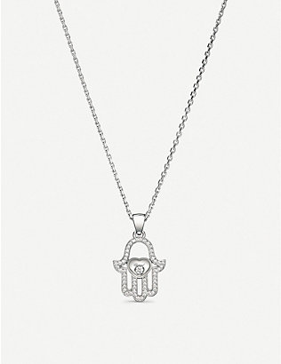 CHOPARD: Happy Diamonds Icons 18ct white-gold and diamond pendant