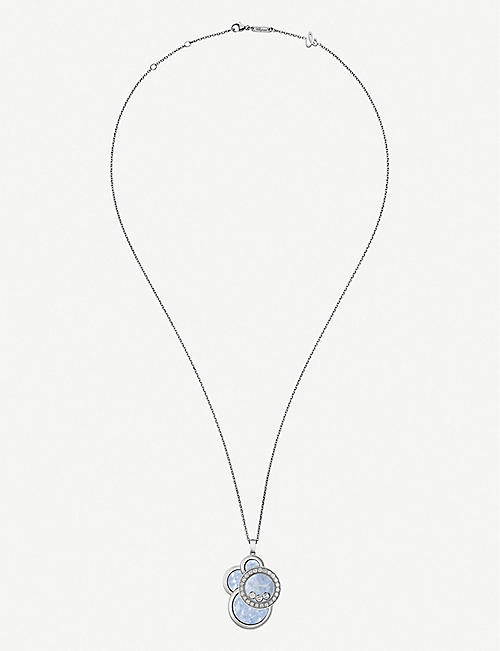 CHOPARD Happy Dreams 18ct white-gold, mother-of-pearl and diamond pendant necklace