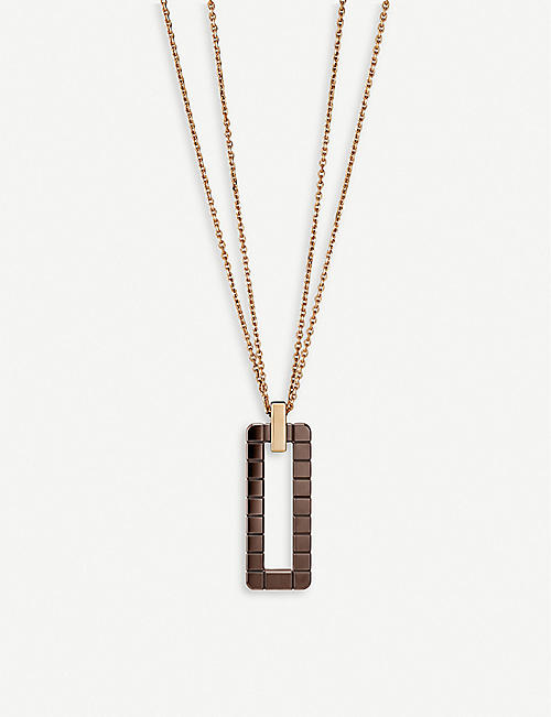 CHOPARD: Ice Cube Rock 18ct rose-gold and ceramic pendant