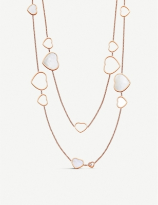 CHOPARD Happy Hearts 18ct rose-gold, diamond and mother-of-pearl sautoir necklace