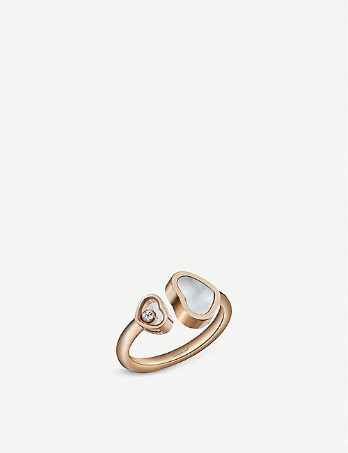 CHOPARD Happy Hearts 18c rose-gold and mother-of-pearl ring