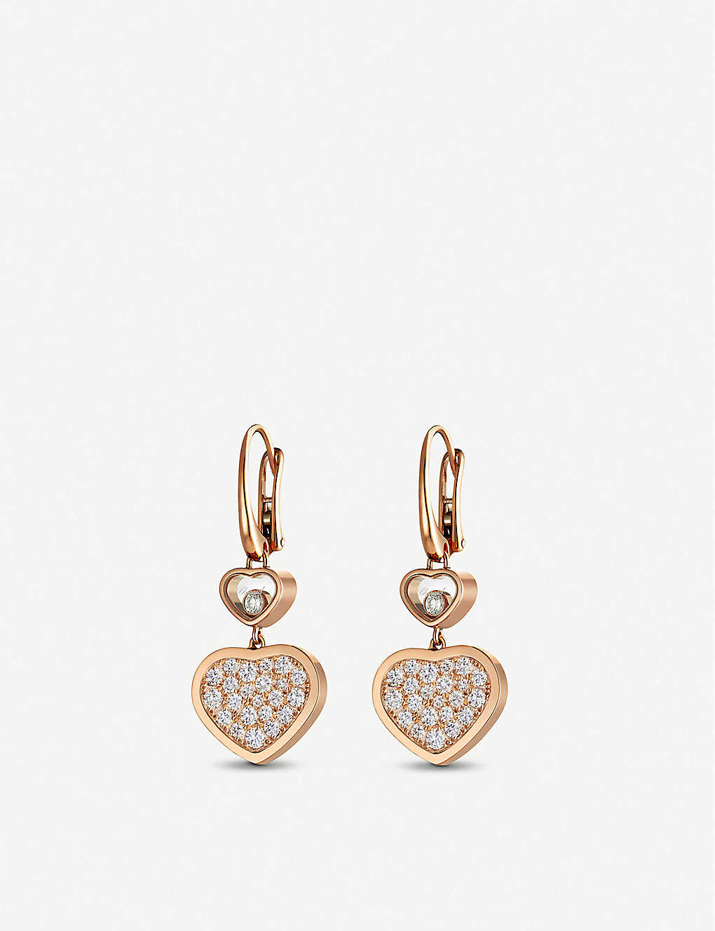 CHOPARD: Happy Hearts 18ct rose-gold and diamond earrings