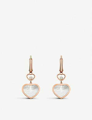 CHOPARD Happy Hearts 18ct rose-gold, diamond and mother-of-pearl earrings