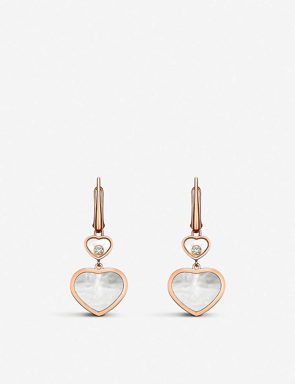 CHOPARD: Happy Hearts 18ct rose-gold, diamond and mother-of-pearl earrings