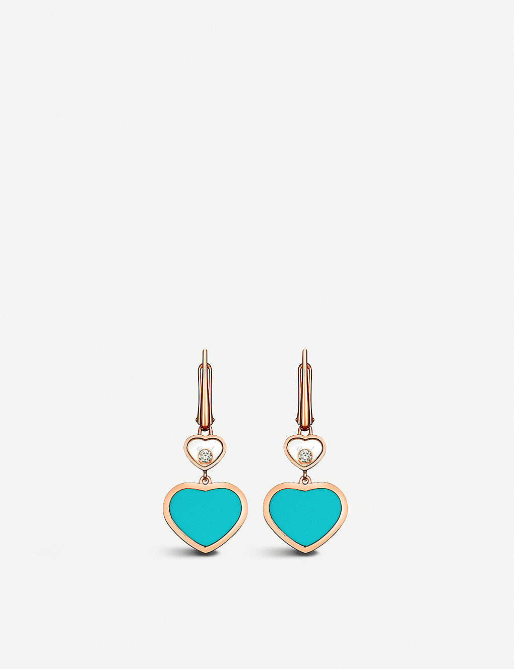 CHOPARD: Happy Hearts 18ct rose-gold, diamond and turquoise earrings