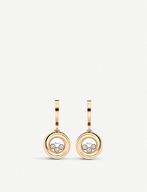 CHOPARD Happy emotions 18ct rose-gold and diamond earrings