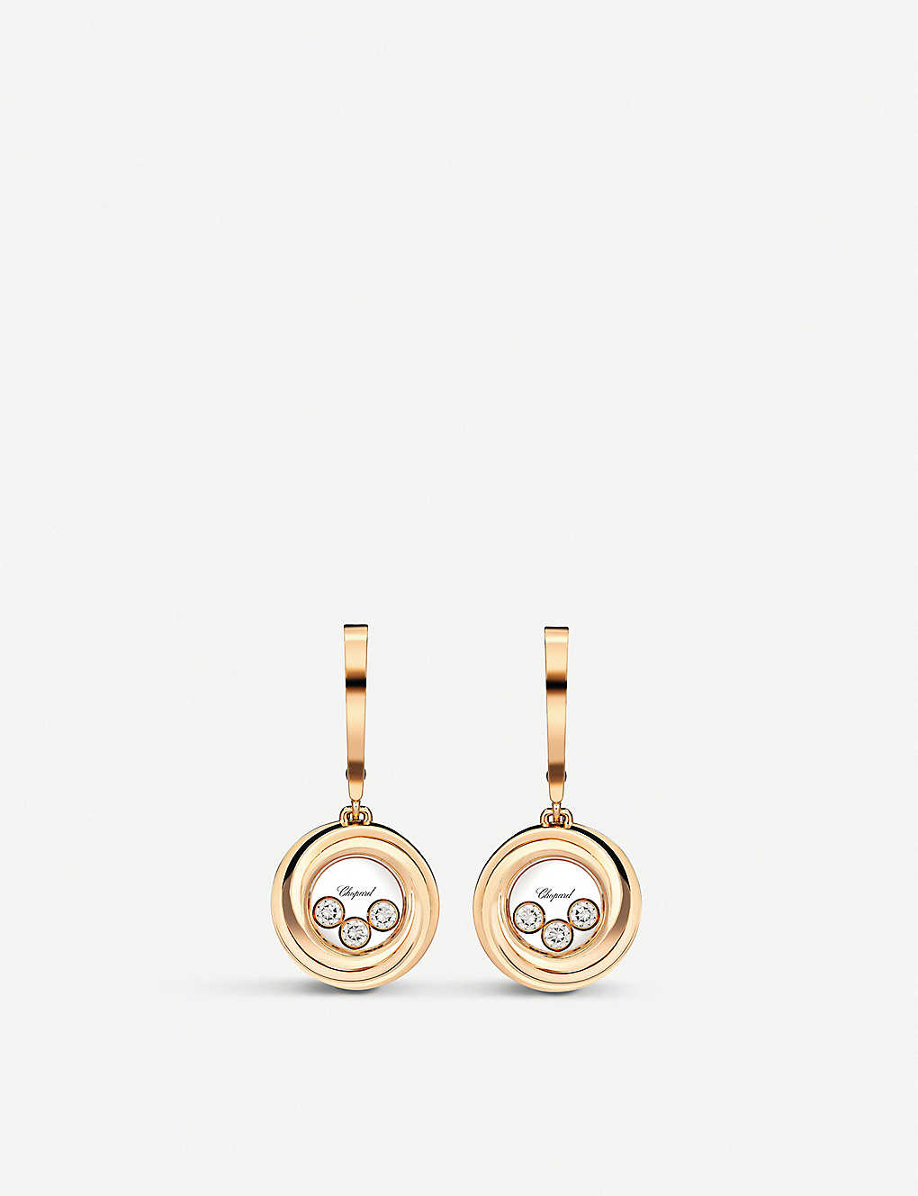 CHOPARD: Happy emotions 18ct rose-gold and diamond earrings