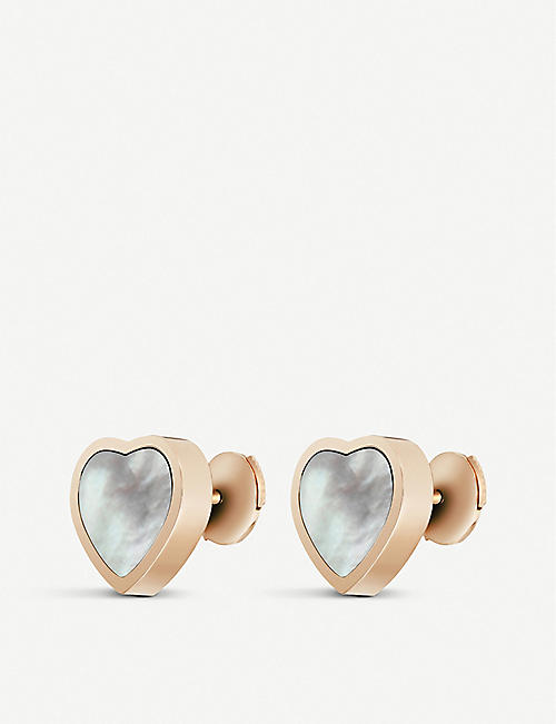 CHOPARD Happy Hearts 18ct rose-gold and mother-of-pearl earrings