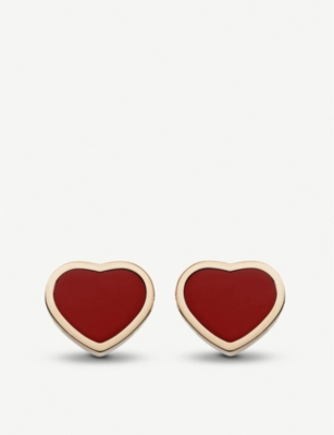 CHOPARD Happy Hearts 18ct rose-gold and red stone earrings
