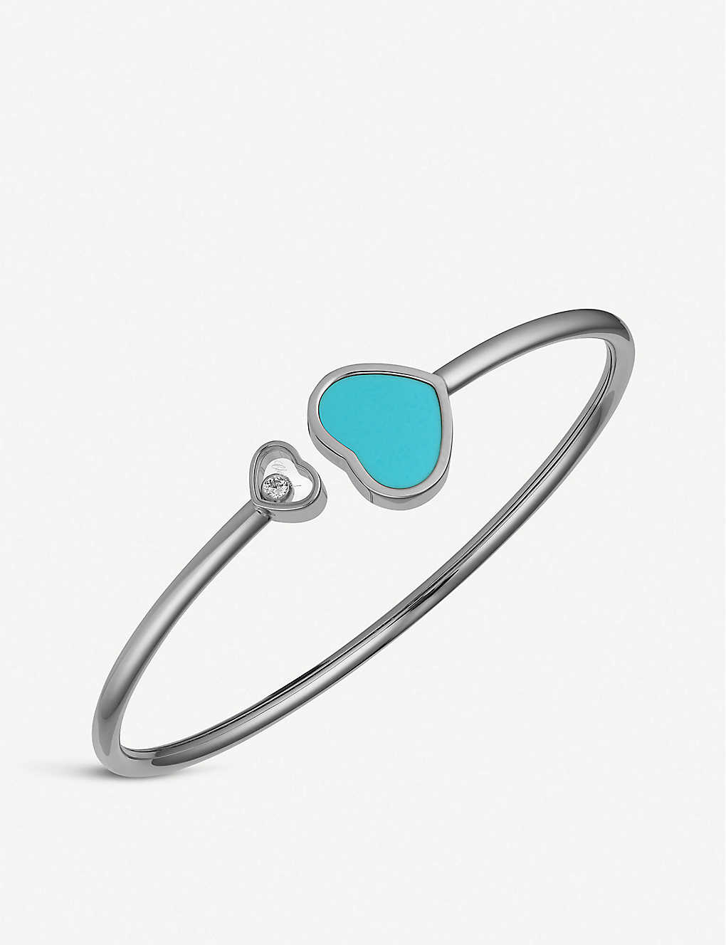 CHOPARD: Happy Hearts 18ct white-gold, turquoise and diamond bangle bracelet