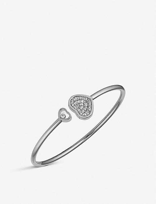 CHOPARD: Happy Hearts 18ct white-gold and diamond bangle