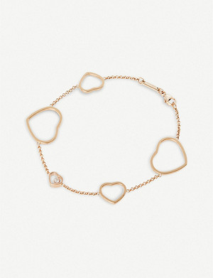 CHOPARD Happy Hearts 18ct rose-gold and diamond bracelet