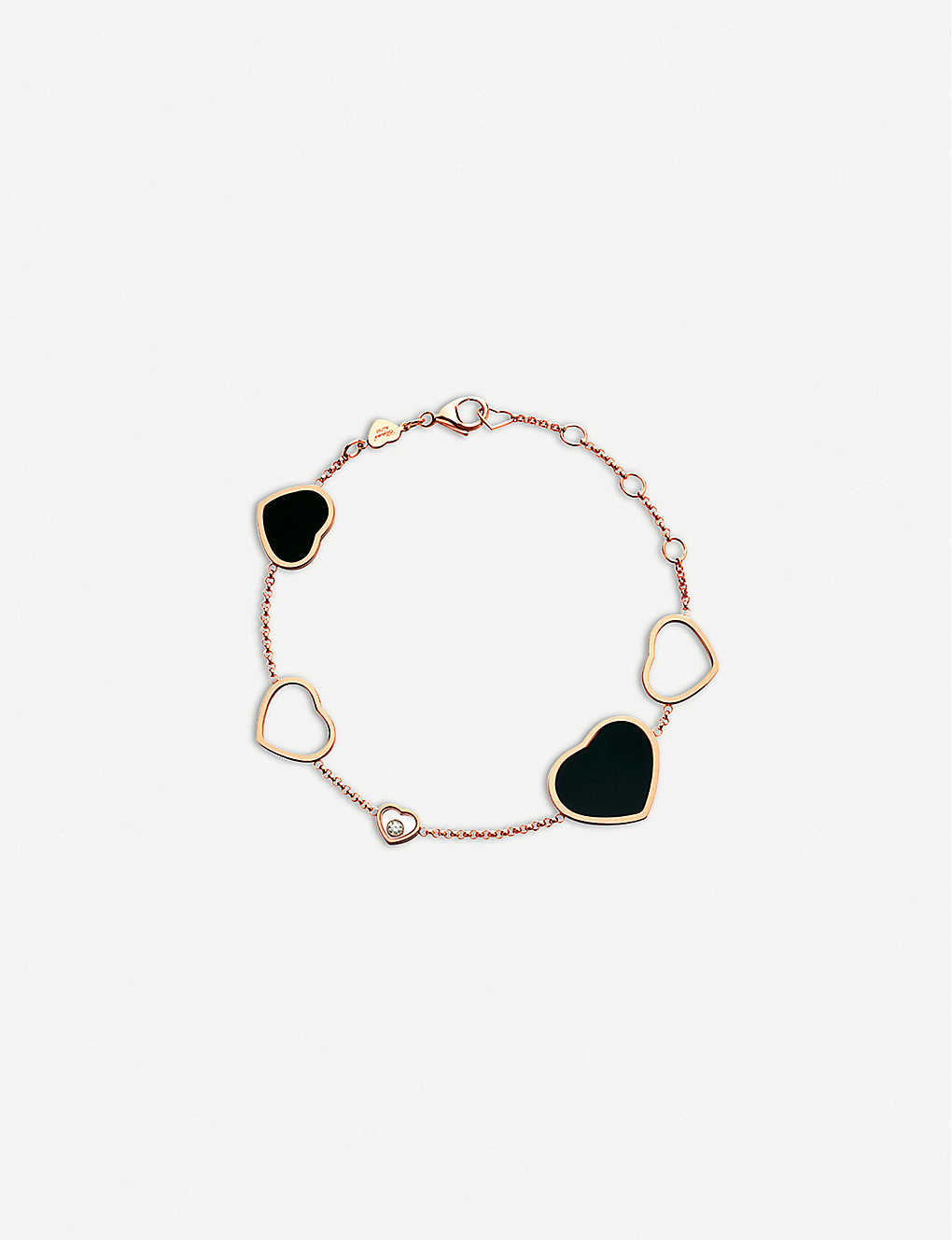 CHOPARD: Happy Hearts 18ct rose-gold, onyx and diamond bracelet