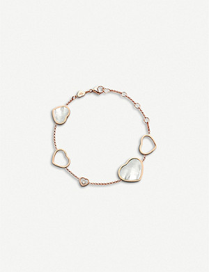 CHOPARD Happy Hearts 18ct rose-gold, diamond and mother-of-pearl bracelet