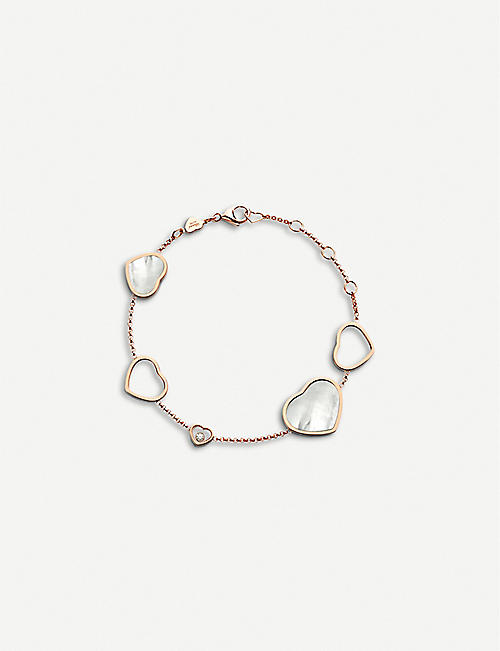 CHOPARD: Happy Hearts 18ct rose-gold, diamond and mother-of-pearl bracelet