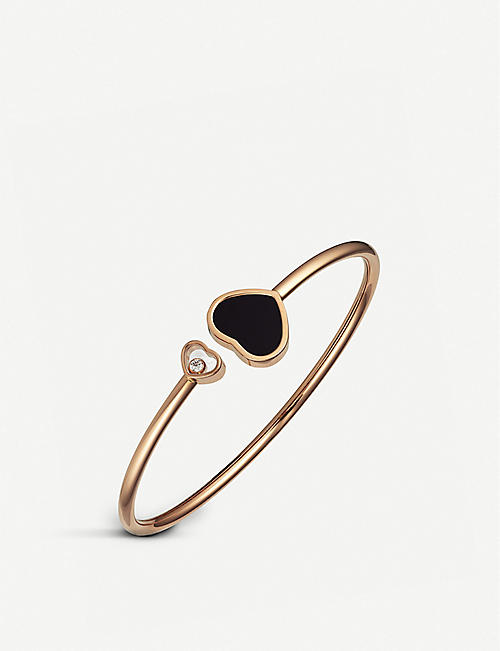 CHOPARD: Happy Hearts 18ct rose-gold, onyx and diamond bangle bracelet