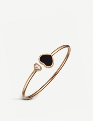 CHOPARD Happy Hearts 18ct rose-gold black onyx and diamond bangle bracelet