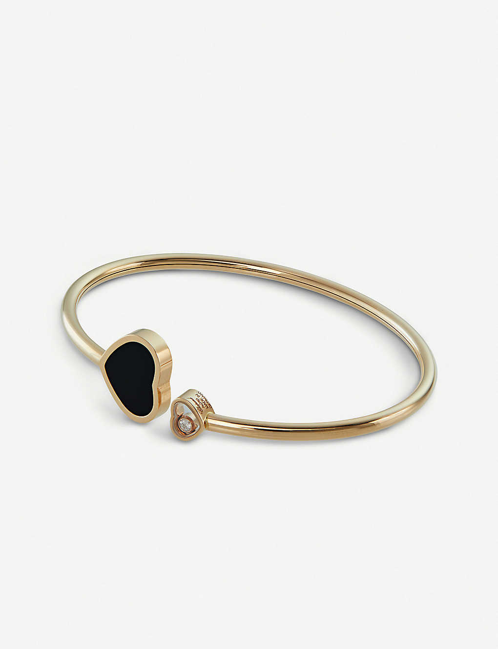 12a320c132577 CHOPARD - Happy Hearts 18ct rose-gold, diamond and onyx bracelet ...