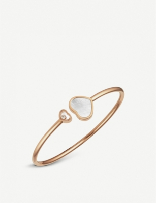 CHOPARD Happy Hearts 18ct rose-gold and mother-of-pearl bangle bracelet